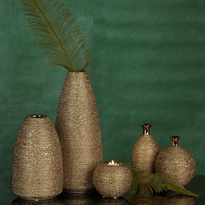 Set 3 vaze Miro ceramica glazurata, auriu, 15 cm 1