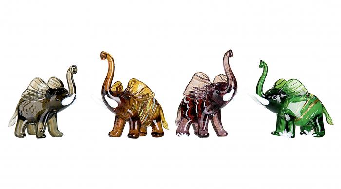 Set 4 deco ELEPHANT, sticla, 8.5X5X7 cm 1