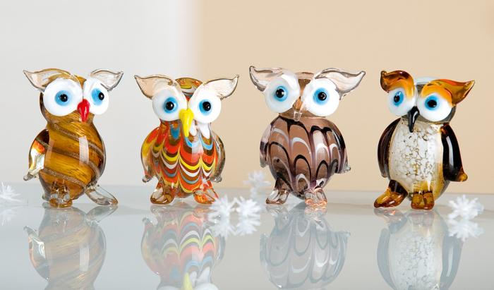 Set 4 deco OWL, sticla, 4X3.5X5.5 cm 0
