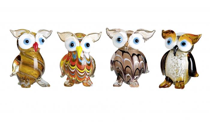 Set 4 deco OWL, sticla, 4X3.5X5.5 cm 1