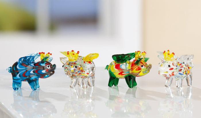 Set 4 deco PIG WINGS, sticla, 4.5X3.5X4.5 cm 0