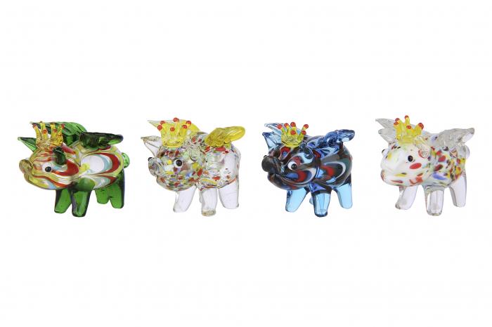 Set 4 deco PIG WINGS, sticla, 4.5X3.5X4.5 cm 1