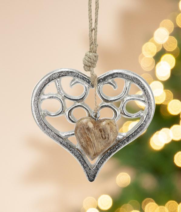 Set 4 ghirlande HEART, aluminiu mango, 14x3x25 imagine 2021 lotusland.ro