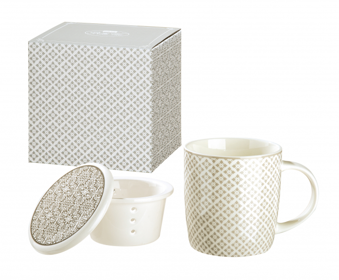Set cana cu infuzor si capac Grey Ornament, portelan, gri crem, 12x10.2x9 cm imagine 2021 lotusland.ro
