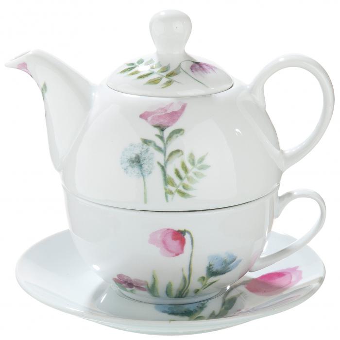 Set ceasca cu farfurie si ceainic Sweet Blossom, portelan, multicolor, 15x16 cm 2021 lotusland.ro