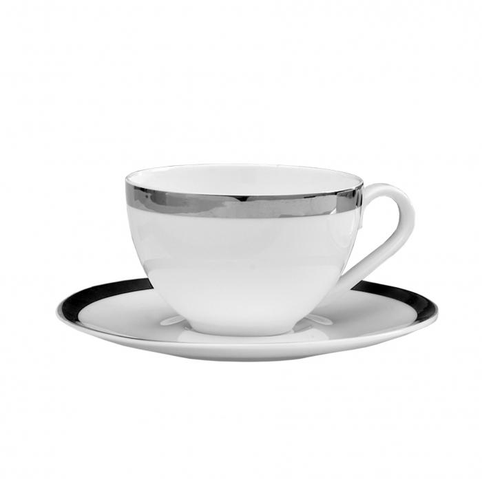 Set ceasca si farfurie pentru cappuccino PLATINUM, portelan,8x17 cm 0