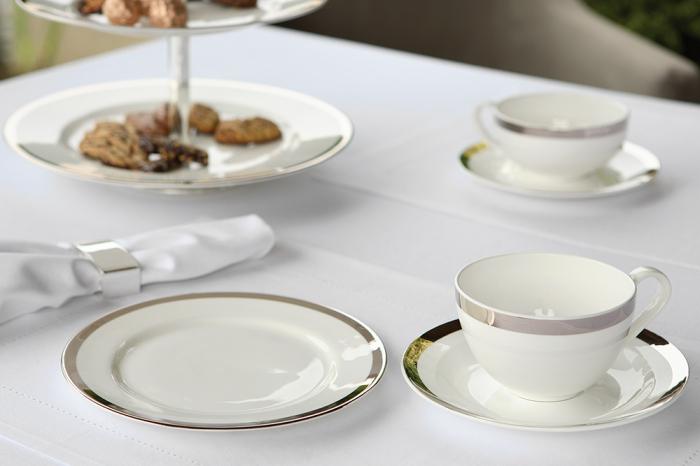 Set ceasca si farfurie pentru cappuccino PLATINUM, portelan,8x17 cm 2
