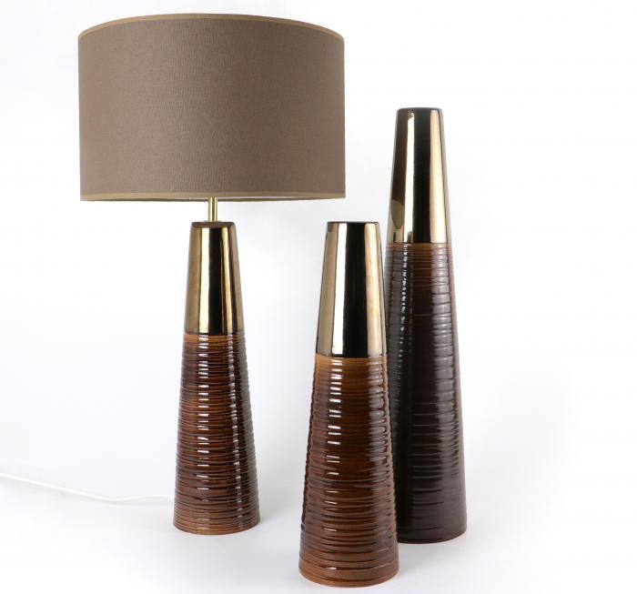 Set 1 Lampa cu 2 Vaze CHEDI, ceramica, maro/auriu, 42/57/42 cm 2