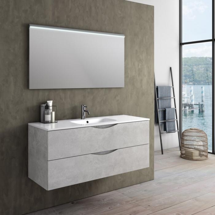 Set de baie cu 3 piese OSLO, Melamina/Aluminiu/Abs/Sticla/Ceramica/Metal, Alb, 121x46.5x190 cm 0