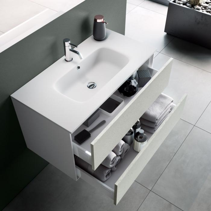 Set de baie cu 4 piese AGO, Melamina/Aluminiu/Abs/Sticla/Ceramica/Metal, Alb,  101x46.5x190 cm 1
