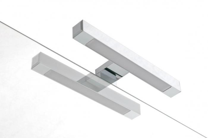 Set de baie cu 4 piese AGO, Melamina/Aluminiu/Abs/Sticla/Ceramica/Metal, Alb,  101x46.5x190 cm 6