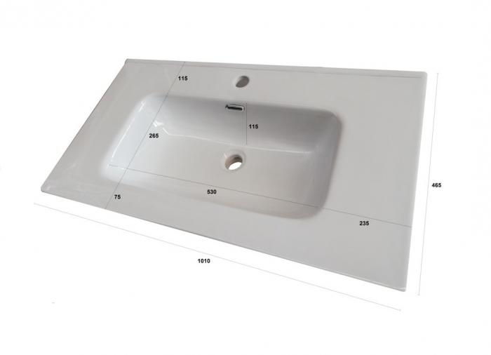 Set de baie cu 4 piese AGO, Melamina/Aluminiu/Abs/Sticla/Ceramica/Metal, Alb,  101x46.5x190 cm 4