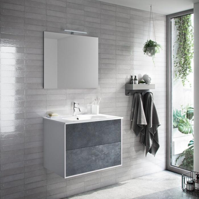 Set de baie cu 4 piese AGO, Melamina Aluminiu Abs Sticla Ceramica Metal, Gri, 71x46.5x190 cm 2021 lotusland.ro