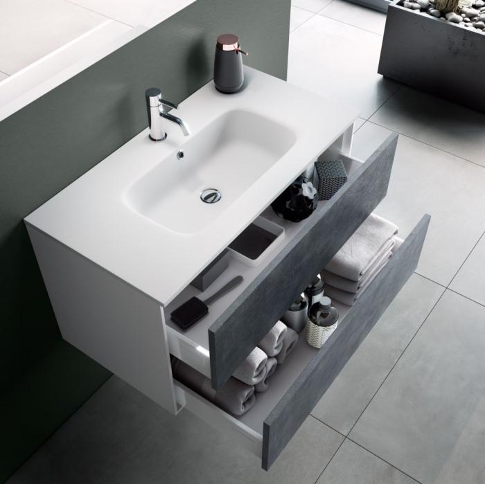 Set de baie cu 4 piese AGO, Melamina/Aluminiu/Abs/Sticla/Ceramica/Metal, Gri, 71x46.5x190 cm 1