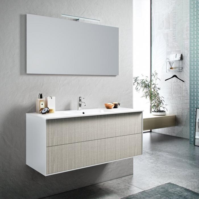Set de baie cu 4 piese AGO , Melamina/Aluminiu/Abs/Sticla/Ceramica/Metal, Crem,  121x46.5x190 cm 0