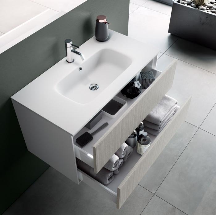 Set de baie cu 4 piese AGO , Melamina/Aluminiu/Abs/Sticla/Ceramica/Metal, Crem,  121x46.5x190 cm 1
