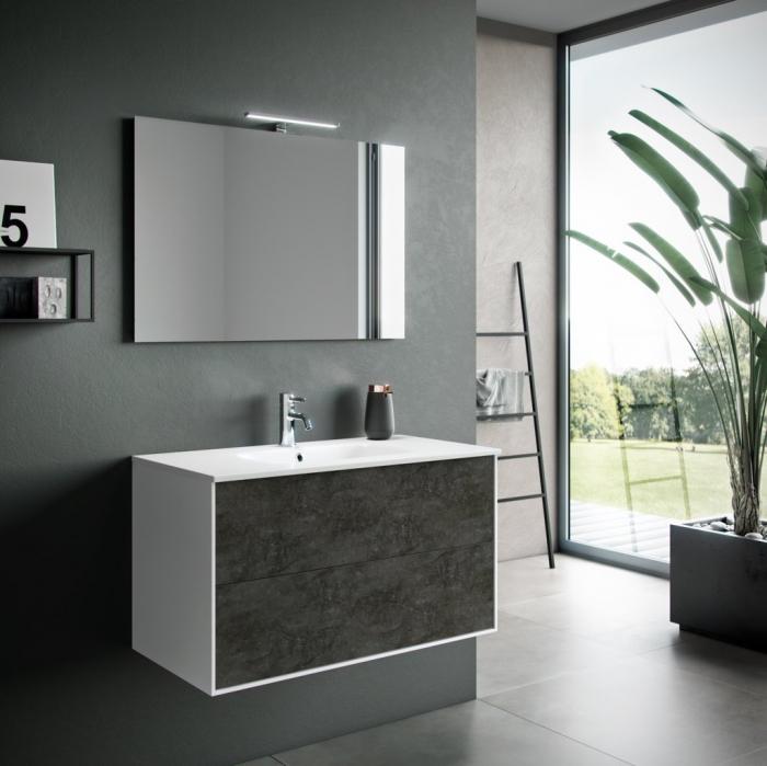 Set de baie cu 4 piese AGO, Melamina Aluminiu Abs Sticla Ceramica Metal, Gri, 101x46.5x190 cm 2021 lotusland.ro