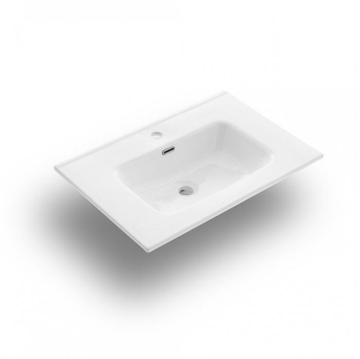 Set de baie cu 4 piese AGO, Melamina/Aluminiu/Abs/Sticla/Ceramica/Metal, Gri, 71x46.5x190 cm 3