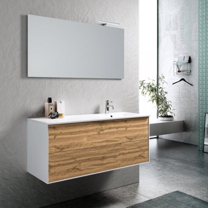 Set de baie cu 4 piese AGO , Melamina Aluminiu Abs Sticla Ceramica Metal, Maro, 121x46.5x190 cm 2021 lotusland.ro