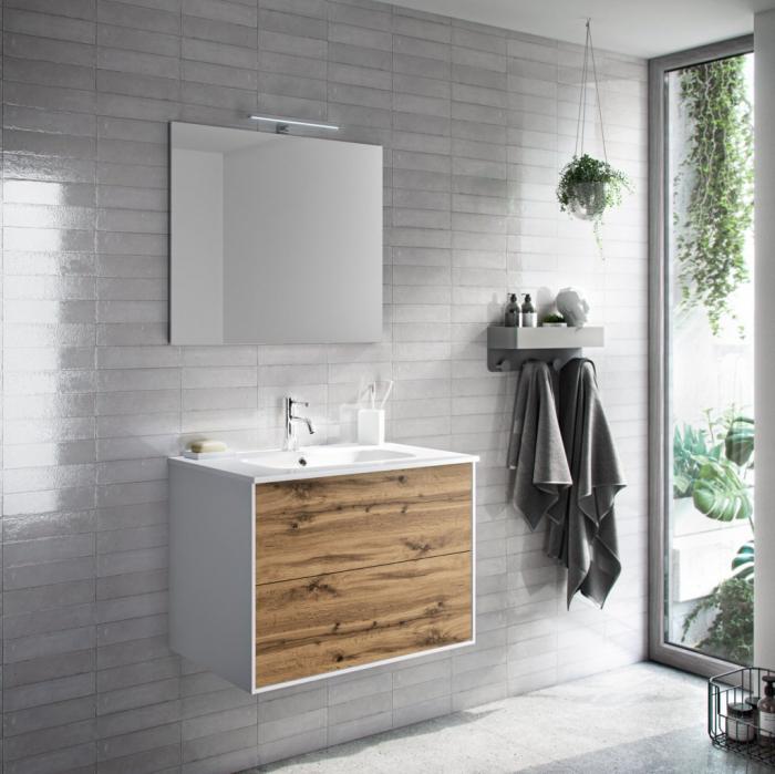 Set de baie cu 4 piese AGO, Melamina Aluminiu Abs Sticla Ceramica Metal, Maro, 61x46.5x190 cm lotusland.ro