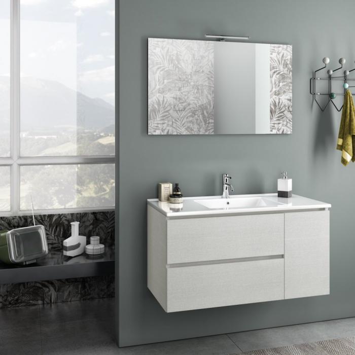 Set de baie cu 4 piese FLAM, Melamina/Aluminiu/Abs/Sticla/Ceramica/Metal, Alb, 101x46.5x190 cm 0