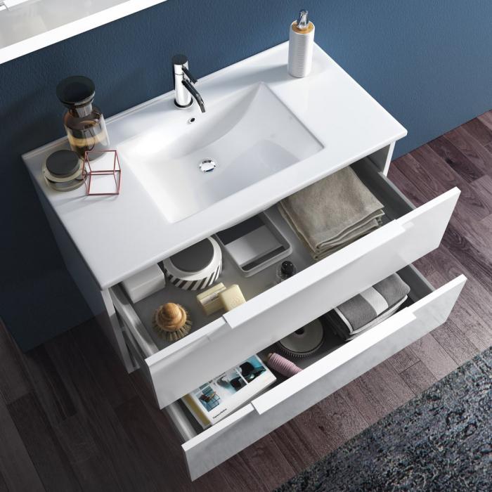 Set de baie cu 4 piese FLAM, Melamina/Aluminiu/Abs/Sticla/Ceramica/Metal, Alb, 101x46.5x190 cm 1