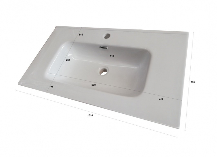 Set de baie cu 4 piese FLAM, Melamina/Aluminiu/Abs/Sticla/Ceramica/Metal, Alb, 101x46.5x190 cm 3