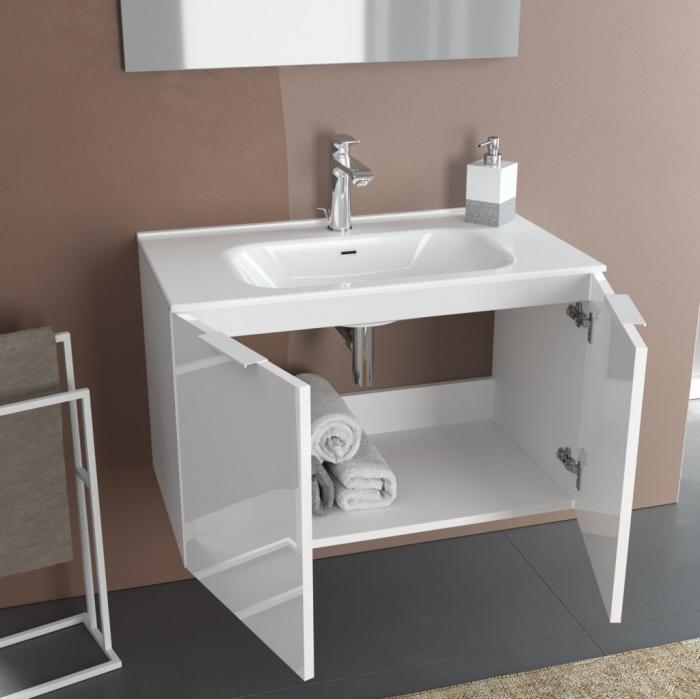 Set de baie cu 4 piese IRIS, Melamina/Aluminiu/Abs/Sticla/Ceramica/Metal, Crem, 81x46.5x190 cm 1