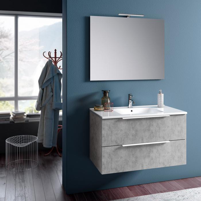 Set de baie cu 4 piese MALMO, Melamina/Aluminiu/Abs/Sticla/Ceramica/Metal, Gri, 81x46.5x190 cm 0