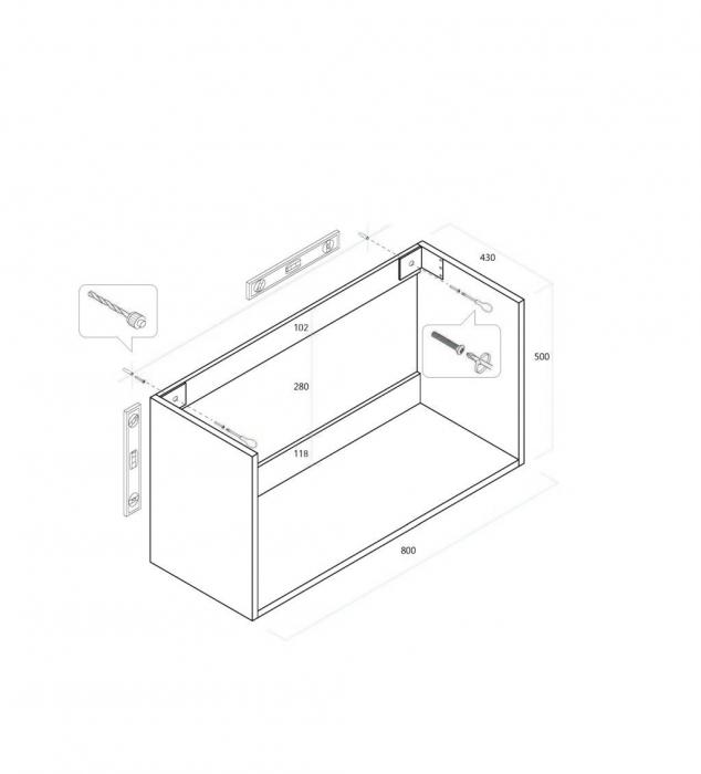 Set de baie cu 4 piese MALMO, Melamina/Aluminiu/Abs/Sticla/Ceramica/Metal, Gri, 81x46.5x190 cm 2