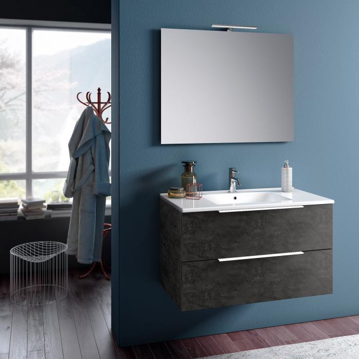 Set de baie cu 4 piese MALMO, Melamina/Aluminiu/Abs/Sticla/Ceramica/Metal, Gri, 91x46.5x190 cm 0