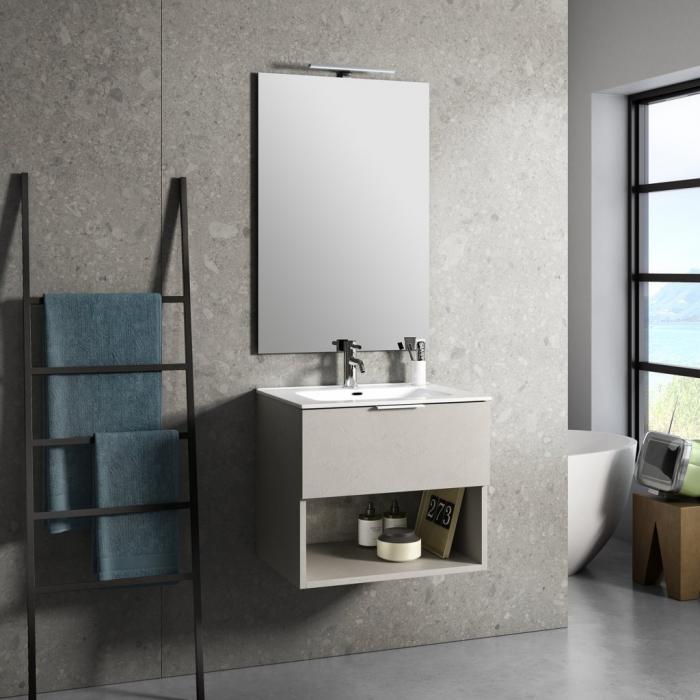 Set de baie cu 4 piese ONE, Melamina/Aluminiu/Abs/Sticla/Ceramica/Metal, Bej deschis, 61x46.5x190 cm 0
