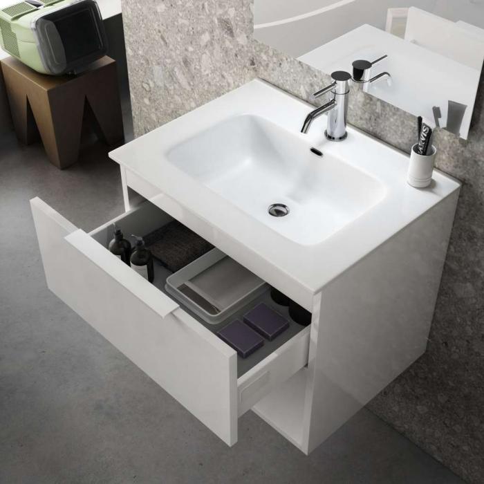 Set de baie cu 4 piese ONE, Melamina/Aluminiu/Abs/Sticla/Ceramica/Metal, Bej deschis, 61x46.5x190 cm 1