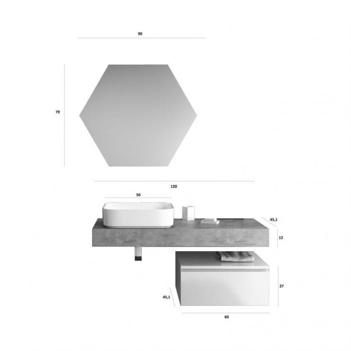 Set de baie cu 4 piese YOKA , Melamina/Aluminiu/Abs/Sticla/Ceramica/Metal, Gri,  120x45x190 cm 6