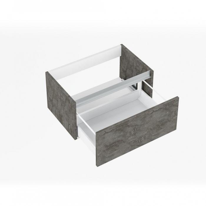 Set de baie cu 6 piese PERTH, Melamina/Aluminiu/Abs/Sticla/Ceramica/Metal, Gri, 140x46.5x190 cm 1