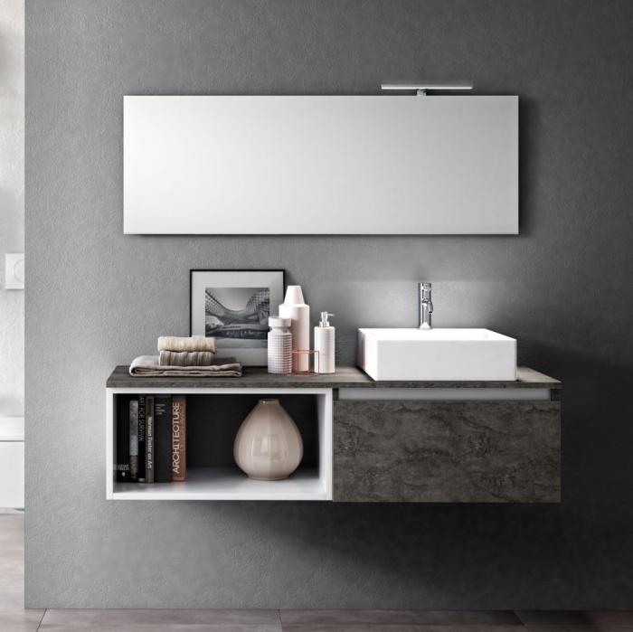 Set de baie cu 6 piese PERTH, Melamina/Aluminiu/Abs/Sticla/Ceramica/Metal, Gri, 140x46.5x190 cm 0
