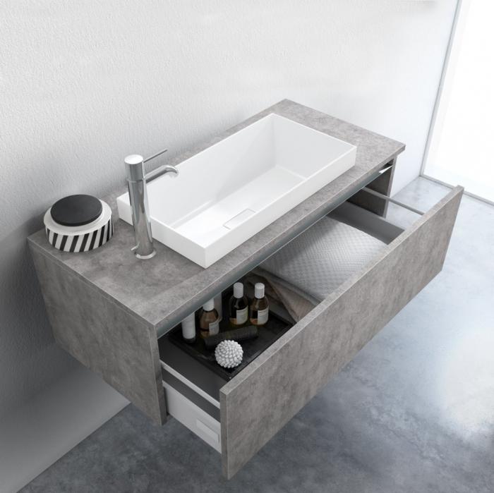 Set de baie cu 6 piese PERTH, Melamina/Aluminiu/Abs/Sticla/Rasina/Metal, Gri, 170x45x190 cm [1]