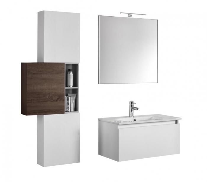 Set de baie cu 8 piese PERTH, Melamina/Aluminiu/Abs/Sticla/Ceramica/Metal, Alb/Maro inchis, 131x46.5x190 cm [1]