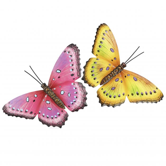 Set decoratiune de perete 2 fluturi, metal, roz/galben, 33x23x2 cm 1