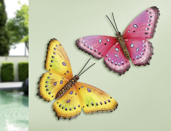 Set decoratiune de perete 2 fluturi, metal, roz/galben, 33x23x2 cm 0
