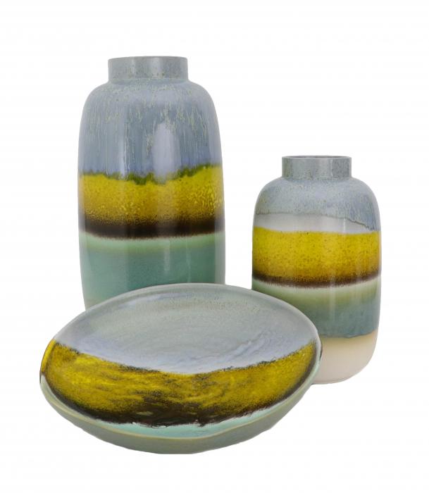 Set 2 vaze cu 1 farfurie DUBAI, ceramica, multicolor, 41/34/7.5 cm 0
