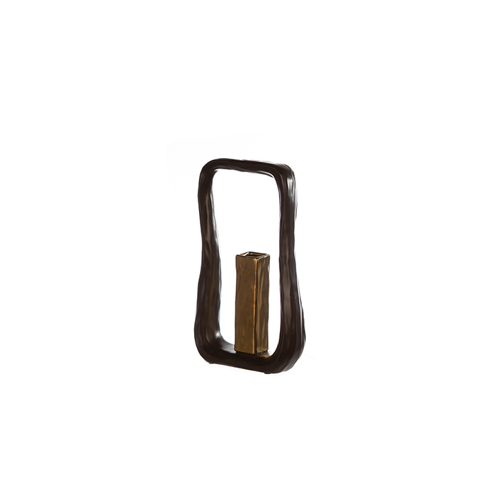 Set Vaza cu Suport lumanare KADOMA, ceramica, negru, 31/14.5 cm 3