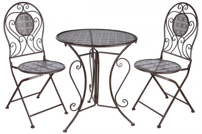 Set masa cu 2 scaune Cloverleaf, metal, maro imagine 2021 lotusland.ro
