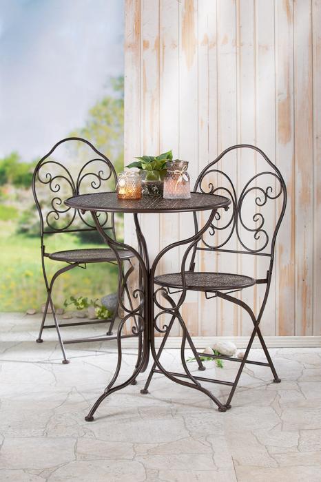 Set masa cu 2 scaune Mandala, metal, maro 2021 lotusland.ro