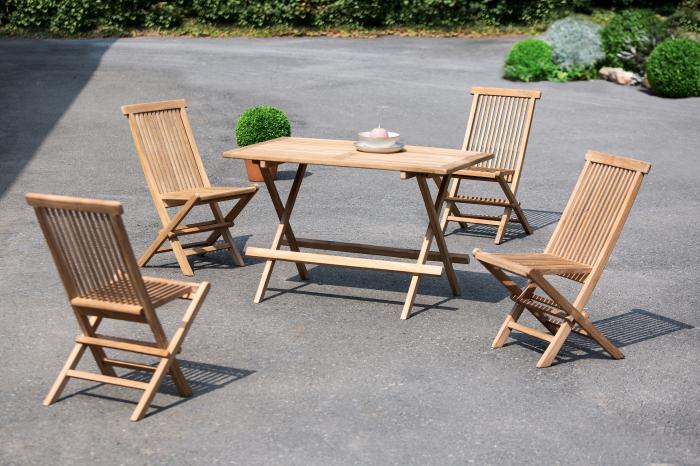 Set masa cu 4 scaune BALI, lemn, 120x76x70/47x88x64 cm 0