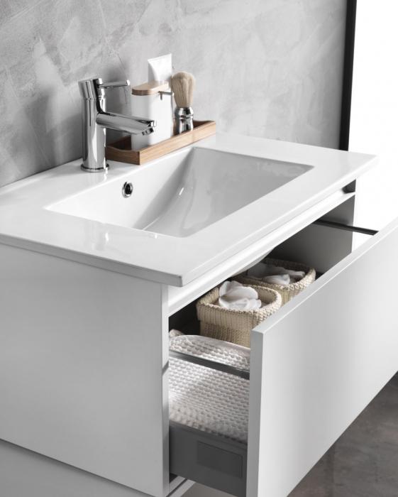 Set mobilier pentru baie 8 piese PERTH, Melamina/Aluminiu/Abs/Sticla/Ceramica/Metal, Alb/Maro deschis, 131x46.5x190 cm 2