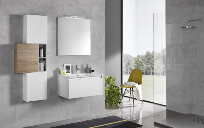 Set mobilier pentru baie 8 piese PERTH, Melamina/Aluminiu/Abs/Sticla/Ceramica/Metal, Alb/Maro deschis, 131x46.5x190 cm 0