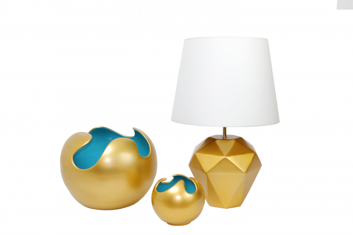 Set 1 Lampa cu 2 Vaze WAVES, ceramica, auriu/albastru, 23/27/22.5 cm 0