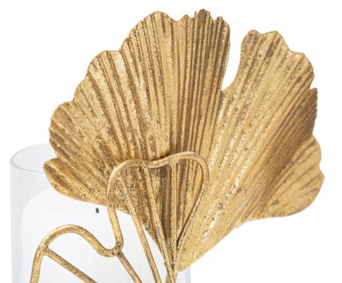 Sfesnic Leaf, Metal/Sticla, Auriu/Alb, 17X10.2X18.2 cm , Mauro Ferretti [2]
