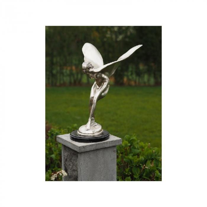 Statuie de bronz clasica Silver plated flying lady 49x39x30 cm lotusland.ro